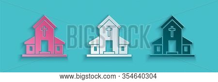 Paper Cut Church Building Icon Isolated On Blue Background. Christian Church. Religion Of Church. Pa