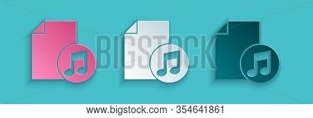 Paper Cut Music Book With Note Icon Isolated On Blue Background. Music Sheet With Note Stave. Notebo