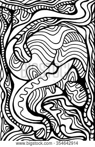 Artistic Line Art Ornament Coloring Page. Surreal Stylish Card.