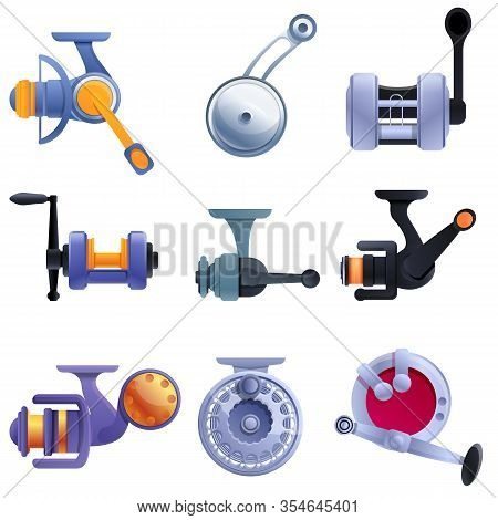 Fishing Reel Icons Set. Cartoon Set Of Fishing Reel Vector Icons For Web Design