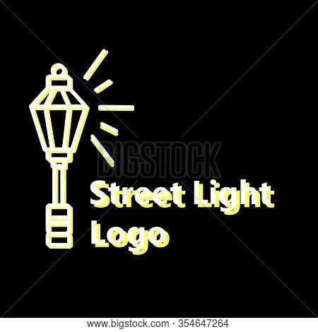 Streetlight Vintage Lamp Shining At Night. Logo Design On Black Background