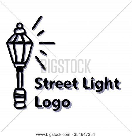 Streetlight Vintage Lamp Shining At Night. Logo Design On White Background