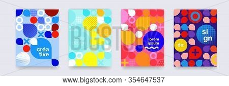 Fun Doodle Pattern Background, Abstract Shapes And Colors, Vector Design. Modern Geometric Creative