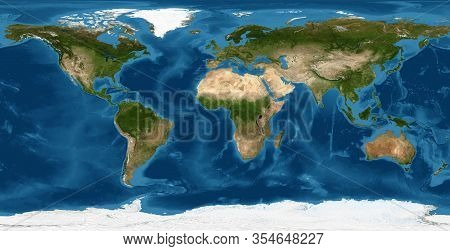 Earth Flat View From Space. Detailed World Physical Map On Global Satellite Photo. Elements Of This