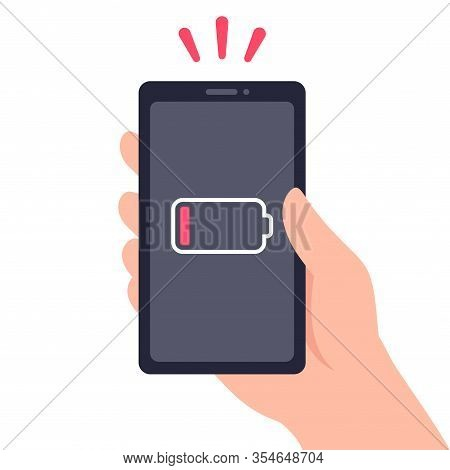 Hand Holding Smartphone With Low Battery Energy Level. Dying Phone In Need Of Charge. Vector Clip Ar