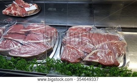 Pretoria, South Africa - 08 Feb. 2019: Fresh Meat From Maders Slaghuis In Pretoria Is A Butchery And