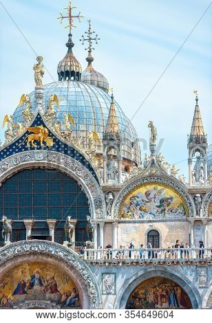 Venice, Italy - May 19, 2017: Front View Of Old St Mark`s Basilica. Beautiful Saint Mark`s Cathedral