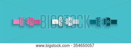 Paper Cut Safety Belt Icon Isolated On Blue Background. Seat Belt. Paper Art Style. Vector Illustrat
