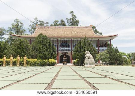 Foz Do Iguacu, Parana / Brazil; Dec 17, 2017: Chen Tien Buddhist Temple, Buddhas Square, Statues Rep