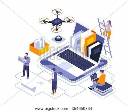 Document Specification Isometric Landing Page Vector Template. Corporate Information Organization We