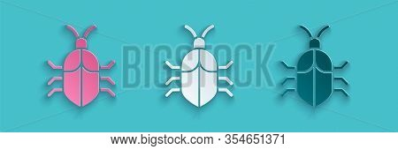 Paper Cut System Bug Concept Icon Isolated On Blue Background. Code Bug Concept. Bug In The System.