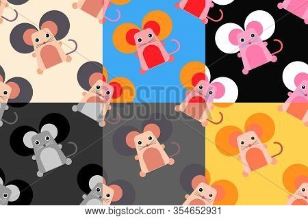 Set Of Colorful Cartoon Style Seamless Backgrounds With Cute Mouse With Big Ears. Vector Design Illu