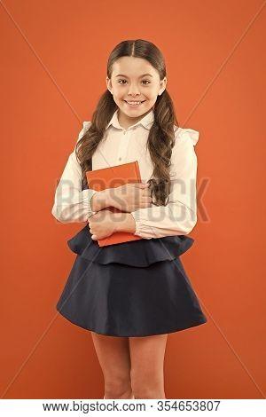 Possible Everything. Schoolgirl Enjoy Study. Kid School Uniform Hold Workbook. School Lesson. Child