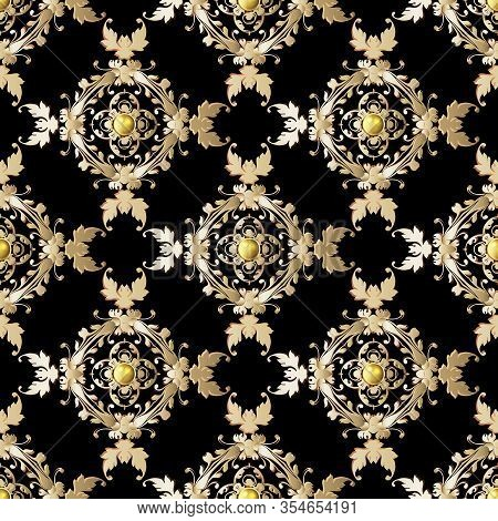 Vintage Gold Floral Seamless Pattern. Vector Ornamental Damask Background. Repeat Ornate Backdrop. G