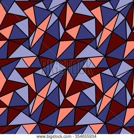 Colorful Seamless Pattern With Red And Blue Triangle Kaleidoscope Mosaic
