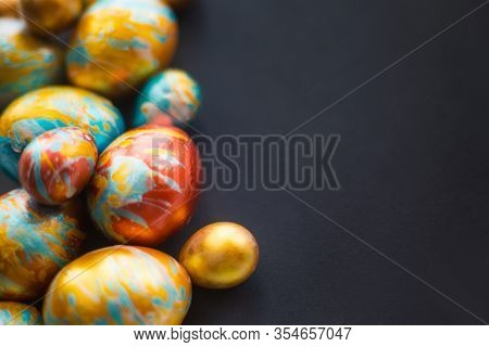 Perfect Colorful Handmade Easter Eggs On Black Paper Background , Shape Of Border Frame Corner With