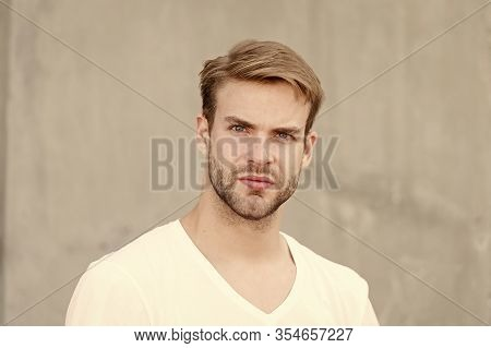 Love Yourself. Portrait Of Male Attractiveness. Young Sexy Guy Gray Background. Unshaved Macho Man.