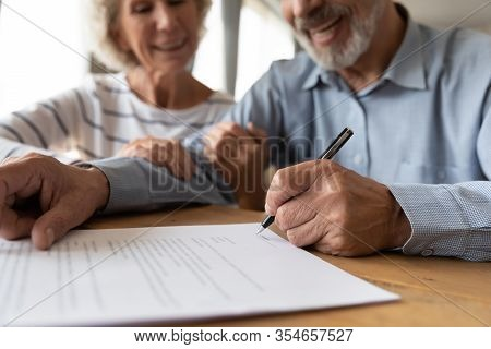 Old Couple Make Agreement Sign Insurance Contract