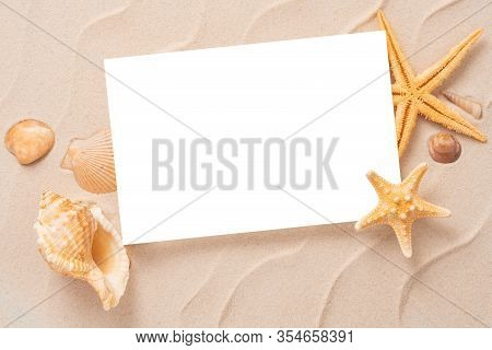 Minimal Frame Summer Background, Sand Shells Seastar Vacation And Travel Concept, Flat Lay Top View
