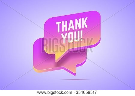 Speech Bubble That Says Thank You. Vector Illustration In Modern Gradient Style.