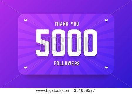 5000 Followers Illustration In Gradient Violet Style. Vector Illustration For Celebrating Number Of