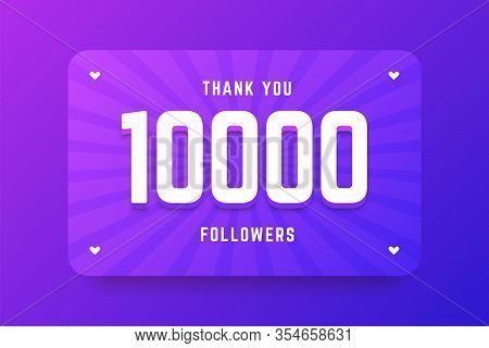 10000 Followers Illustration In Gradient Violet Style. Vector Illustration For Celebrating Number Of