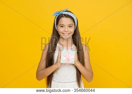 Happy Boxing Day. Happy Child Hold Present Box Yellow Background. Boxing Day Shopping. Little Girl C