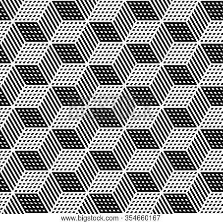 Seamless Geometric Hexagons Op Art Pattern 3d Illusion. Op Art Vector Illustration.