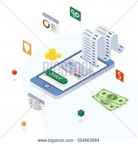 Electronic Bill, Online Payment, Pay History, Smartphone With Credit Card. Concept Of Mobile Payment