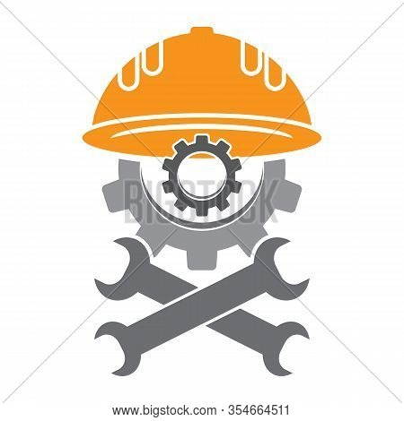 Repair Icon With Wrench And Gear Isolated On White Background. Mechanic Service Concept . Technical
