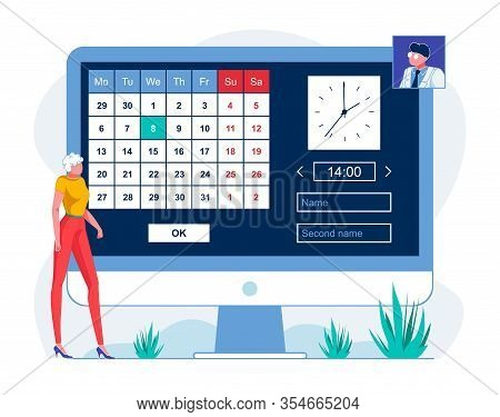 Patient Scheduling Appointment Online Illustration. Telemedicine Website User Planning Meeting With