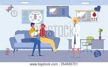 Parents Couple Characters With Newborn Baby In Family Reproductive Center Getting Neonatologist Doct