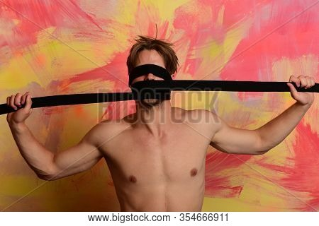 Healthy Lifestyle And Karate Performance Concept. Man With Hidden Face