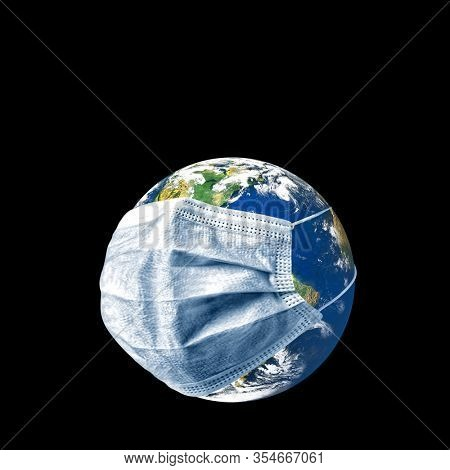 conceptual epidemic image of world with medical  face mask