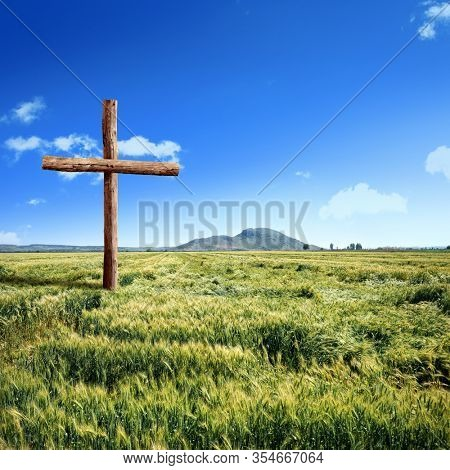 close up wooden cross on green grass landscape over sunny blue sky
