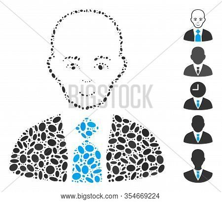 Dotted Mosaic Based On Bald Boss. Mosaic Vector Bald Boss Is Formed With Random Ellipse Elements. Bo