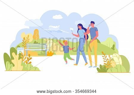 Family Walk In Park Among Plants And Meadow. Sad Little Boy Points On Beautiful Cloud But Parents Ig