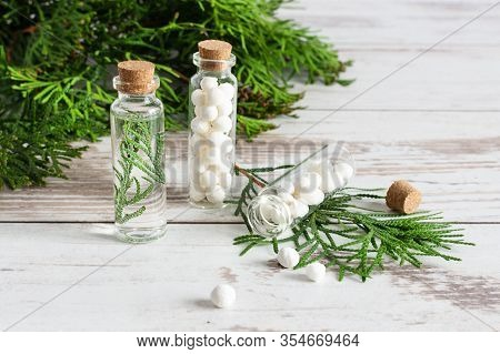 Thuja Herbal Pills And Fresh Branches Of Thuja On White Wooden Table. Bottles Of Homeopathic Globule