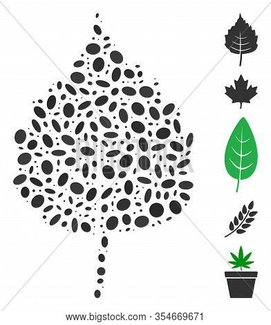 Dot Mosaic Based On Birch Leaf. Mosaic Vector Birch Leaf Is Formed With Scattered Ellipse Elements.