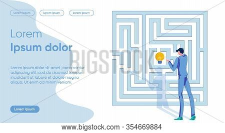 Idea Application Flat Landing Page Vector Template. Finding Way Out, Solution Search, Puzzle Solving