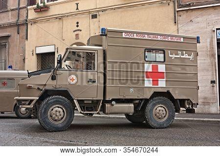 Italian Military Ambulance Iveco Vm 90 Veteran From Iraq Exposed In Festival Fiera Di San Rocco, On