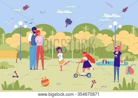 Family Members Cartoon Characters Moving On Foot And Eco Friendly Vehicle At Green City Landscape Ba