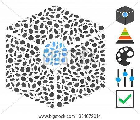 Dot Mosaic Based On Cube Vertex. Mosaic Vector Cube Vertex Is Designed With Randomized Elliptic Dots