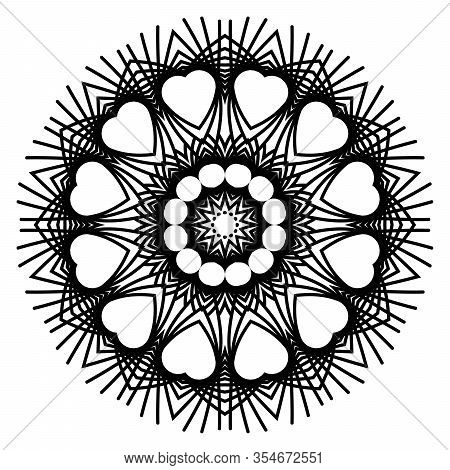 Mandalas For Coloring Book. Decorative Black And White Round Outline Ornament. Unusual Flower Shape.