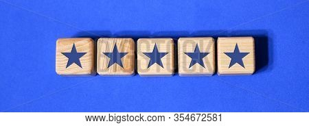Best Excellent Services Rating Customer Experience Concept. Wooden Blocks With The Five Star. The Be