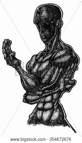 Ink Drawing (hatch Work) Of Karate Pose (martial Art) Detailed Muscular Body In A Textured Unique St