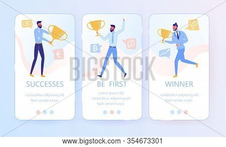 Mobile Banners Set With Business Man Character Holding Trophy Cup And Joyful With Victory And Award