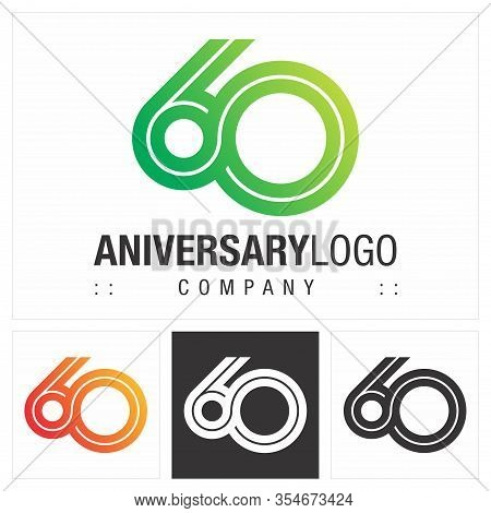 Anniversary (number 60) Vector Symbol Company Logo. Infinite Symbol (unlimited) Style Logotype. Numb