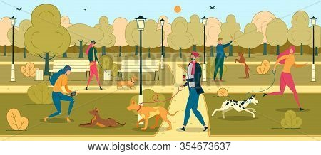 People Training Dogs In Park Flat Illustration. Cartoon Pet Owners Walking With Puppies In Recreatio