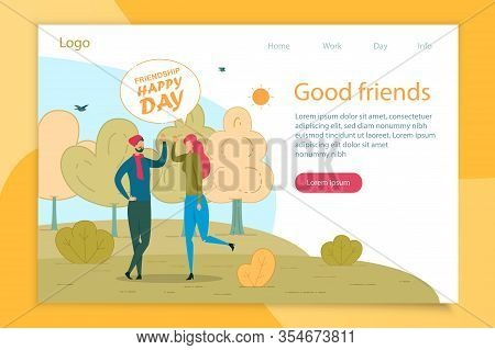 Friends Greeting Flat Vector Landing Page Template. Man And Woman Cartoon Characters Waving Hi. Boyf